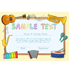 Certificate template with musical instruments vector image