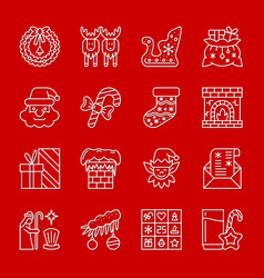 christmas new year white thin line icon set vector image