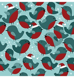 Christmas seamless pattern with bullfinch birds vector image