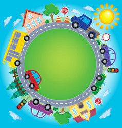 Circle with cars theme image 2 vector
