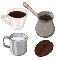 coffee set - cezve pot milk jug cup and coffee vector image