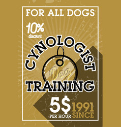 Color vintage cynologist banner vector