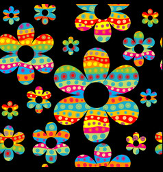 colorful floral seamless pattern with dotted vector image