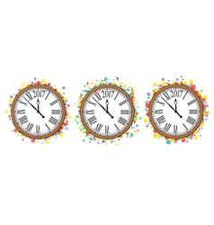 Confetti with text 2017 and vintage clock vector