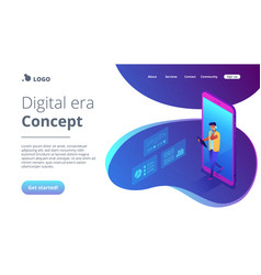 Data insight isometric 3d landing page vector