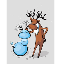 Deer sculpts snowman vector
