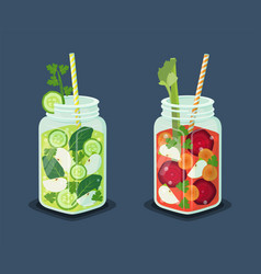 detox energetic cocktails set refreshing drinks vector image