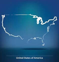Doodle Map of United States of America vector image