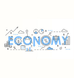 economy word colorful lettering composition vector image