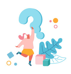 Female character stand under huge question mark vector