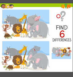 Find differences game with animals vector