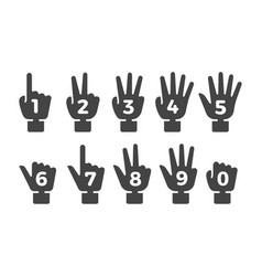 finger counting icon set vector image