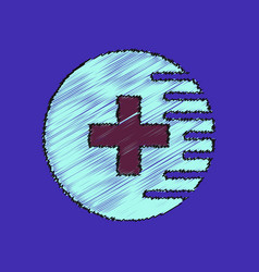 Flat shading style icon medical cross vector