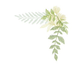 Floral hand drawing green leaf composition vector