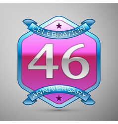 Forty six years anniversary celebration silver vector