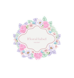 Frame with pink and blue flowers vector