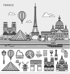 french symbols and french sights flat line line vector image