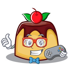 Gamer pudding character cartoon style vector
