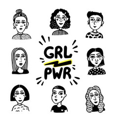girl power movement doodle style girl portraits vector image