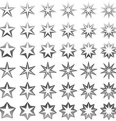 Grey star shape set vector
