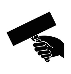 hand with banner icon vector image
