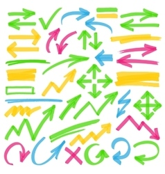Highlighter arrows and marking design elements vector