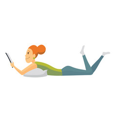 home leisure girl lying and reading book young vector image