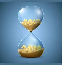hourglass new years concept of transition from vector image