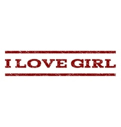 I Love Girl Watermark Stamp vector image