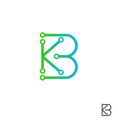 Initial b k or k b technology logo design tech le vector