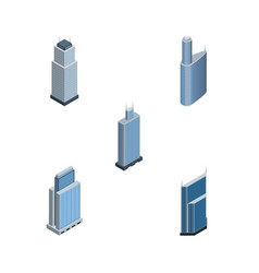 isometric building set of building tower vector image