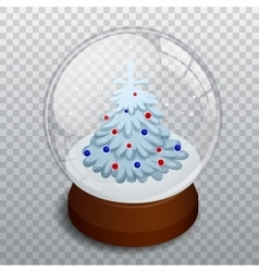 Isometric Merry christmas transparent glass ball vector image