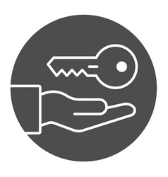 key in hand solid icon providing access vector image