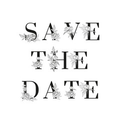 lettering save date inscription for vector image