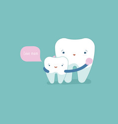 love mom tooth and teeth of dental concept vector image