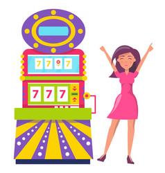 Machine for winning money happy gambler woman vector
