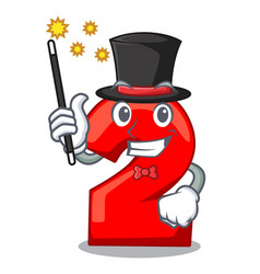 Magician number two red isolated on mascot vector