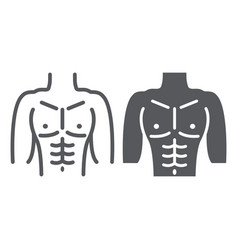 Male torso line and glyph icon diet and body man vector