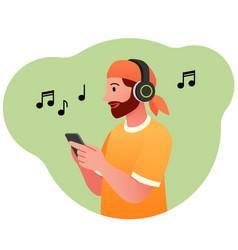 Man listens to radio concept vector