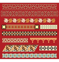 Medieval border ornaments vector