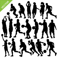 Men play basketball silhouettes vector image