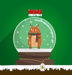 Merry Christmas reindeer in snow globe vector image