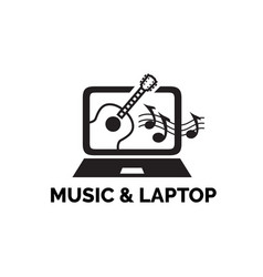 monitor screen computer with guitar and music vector image