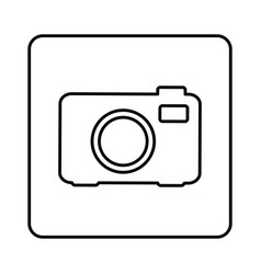 monochrome contour square with analog camera icon vector image