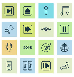 multimedia icons set collection of sound box vector image