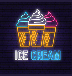 neon ice cream retro sign on brick wall background vector image
