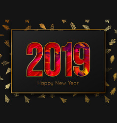 New year 2019 background gold frame on tree vector