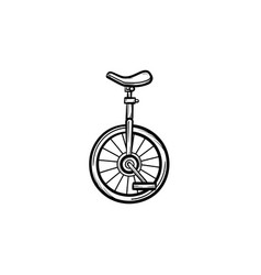 one wheel bicycle hand drawn sketch icon vector image