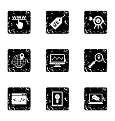Optimization icons set grunge style vector