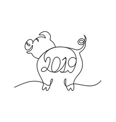 pig continuous line character with 2019 lettering vector image